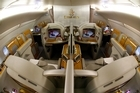 The prepared first class seating area onboard an Airbus A380-800 aircraft, operated by Emirates.