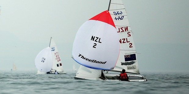Paul Snow-Hansen and Daniel Willcox of New Zealand compete in the 470 class. Photo / Getty Images