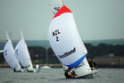 Paul Snow-Hansen and Daniel Willcox in action during the Men's 470 class. Photo / Getty Images