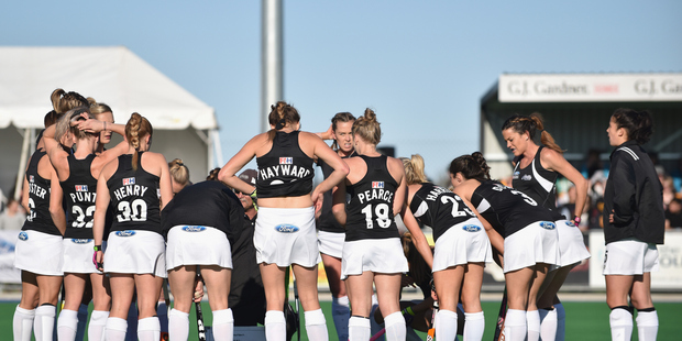 The Black Sticks talk over a break in the game. Photo / Getty Images