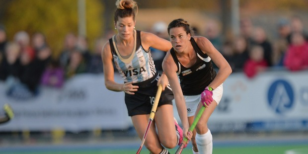 Natasha Fitzsimons of New Zealand controls the ball from Agustina Albertario. Photo / Getty Images