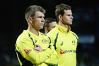 David Warner, left, was upset at abuse he said targeted the Australian players' families. Photo / Getty