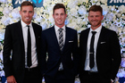 Tim Southee, Adam Milne and Cory Anderson arrive at the New Zealand Cricket Awards. Photo / Getty