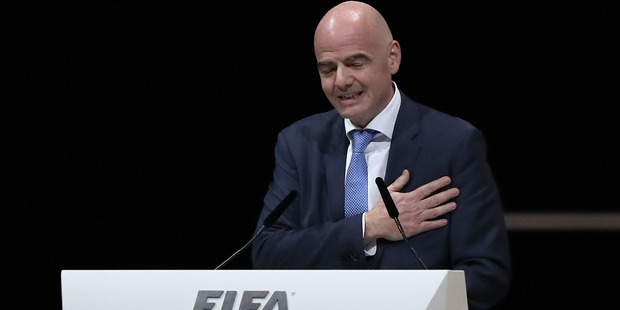 Gianni Infantino talks after being elected as the new FIFA President. Photo / Getty
