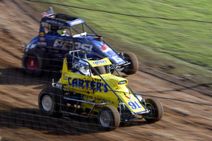 Speedway cars in action during the World Midget Series at Western Springs Speedway. Photo / Getty Images