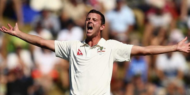 Loading Josh Hazlewood of Australia appeals for a wicket during day three of the Test match between New Zealand and Australia. Photo / Getty Images.