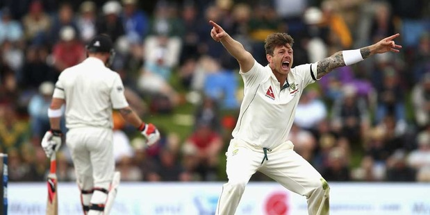 James Pattinson of Australia appeals for the wicket of Brendon McCullum of New Zealand during day three of the Test match between New Zealand and Australia. Photo / Getty Images.