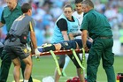 Storm Roux of the Mariners is put on a stretcher with a possible broken leg during the match between Melbourne City FC and the Central Coast Mariners. Photo / Getty Images.