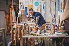 Artist Elliot Collins in his studio. Photo/Heather Liddell