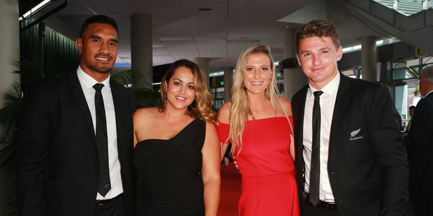 Jerome and Diana Kaino, Hannah Laity and Beauden Barrett. Photo / Norrie Montgomery.