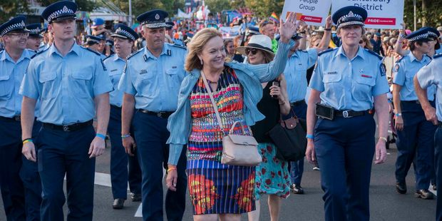Loading Police Minister Judith Collins leads the NZ Police contingent at the Auckland Pride Parade. Photo / Steven McNicholl