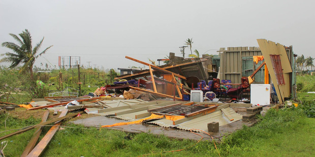 Loading A damaged house at Lautoka, Fiji after Cyclone Winston cut a swathe through the islands overnight. Photo / Fijian Government Facebook