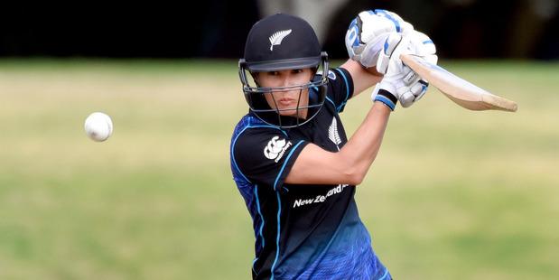 White Fern Sara McGlashan scored 11 in the loss to Australia at Bay Oval yesterday. Photo / George Novak