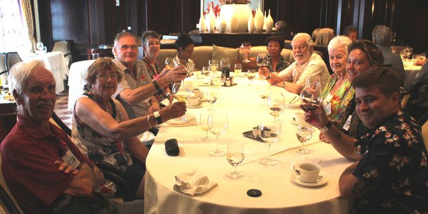 Herald Travel competition winners readers dine aboard the Celebrity Solstice cruise ship. Photo / Jonathan Killick