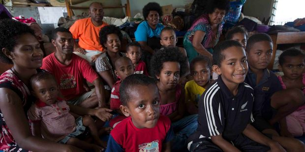 Families forced to live together in a classroom at Lovu Seaside School after their homes were destroyed after cyclone Winston hit Fiji. Photo / Brett Phibbs