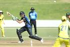 Amy Satterthwaite batting for the White Ferns in the third ODI against Australia at Bay Oval yesterday. Photo / John Borren