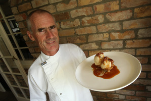 Sommerset Cottage's chef Rick Lowe with his bacon-flavoured icecream.