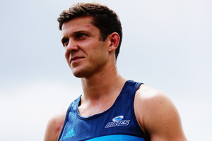 Matt Duffie is interviewed during a Blues super rugby training session. Photo / Getty Images