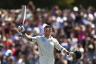 Brendon McCullum of New Zealand celebrates after reaching his century and breaking the world record for the fastest test century. Photo / Getty Images.