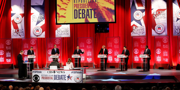 Republican presidential candidates participate during the CBS News Republican presidential debate. Photo / AP