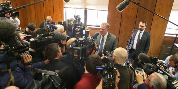Kalamazoo County Prosecutor Jeff Getting talks to media after Jason Dalton was arraigned. Photo / AP