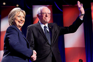 Hillary Clinton, left, and Sen. Bernie Sanders. Photo / Jim Cole