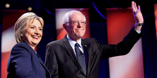 Democratic presidential candidates Hillary Clinton and Bernie Sanders. Photo / AP