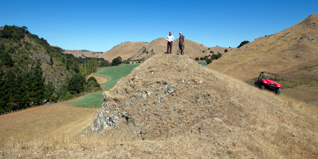 Hawkes Bay Regional Council chief executive Andrew Newman, left, with farmer Craig Presland, at the site of the proposed Ruataniwha Dam near Tikokino, Hawkes Bay.
