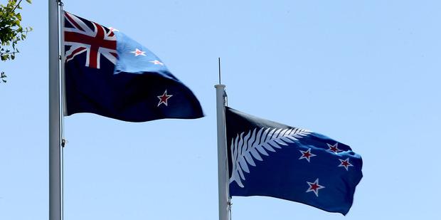 The current New Zealand flag and the alternative flag. Photo / John Borren