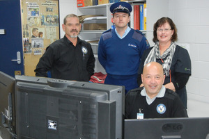 Total Security Management team monitor CCTV screens from up to 120 cameras located around the town. Staff member William Allen, front, behind him are (from left): security company manager Bill Frost, Community Constable Jeff Phillipps and Kaitaia Business Association committee member Raewyn Taaffe.