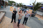 Chris Juddery of Paper plus, campaign leader Stephanie Mitchell from United Travel, and Dicken's Inn Graeme Cundy are keen to see Whangarei pumping on Friday nights. Photo / Michael Cunningham
