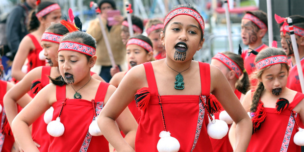 Anastasia Edwards, centre, and the kapa haka group from Totora Grove School perform at Matariki Whanau Festival. Photo / Northern Advocate