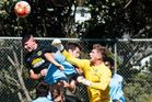 No you don't says Bay United keeper as he denies Wellington defender Bill Robertson a goal.