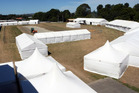 TENT CITY: Tents are being set up for Horse of the Year, at the Hawke's Bay Showgrounds, Hastings. PHOTO/Paul Taylor.