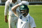 CD opening batsman Greg Hay shows the overnight jitters before going on to score three runs for his seventh first-class century to remain unbeaten yesterday. Photo / Warren Buckland