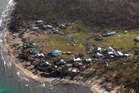 An aerial shot of Navaga Village on Koro Island where a man in his 50s died after the roof of his house collapsed.