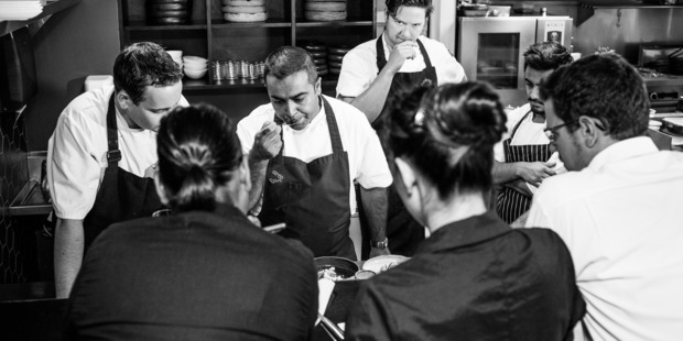 Sid Sahrawat tests the latest  development in his weekly kitchen briefing. Photo / Babiche Martens