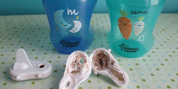 Parents around the world are sharing photos of dirty Tommy Tippee sippy cup lids. Photo / Facebook, Julie Turbride
