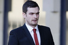 Former England player Adam Johnson arrives at Bradford Crown Court. Photo / AP