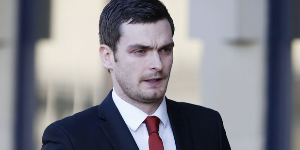 Former England player Adam Johnson arrives at Bradford Crown Court. Photo / AP