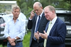 Housing Minister Nick Smith explained what the Government was doing about declining home ownership during his visit to a planned Omokoroa development yesterday. He is flanked by Bay of Plenty MP Todd Muller and developer Peter Cooney. Photo / John Borren