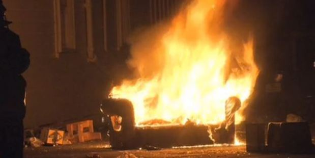 Loading Footage shows a couch well ablaze during Otago University's Orientation Week. Photo / Shay Dewey