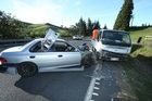 Scene of  collison between a car and a light truck on the Lower Kaimai Range Photo/John  Borren/