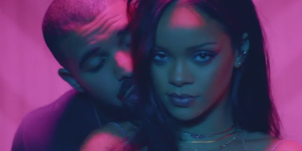 Drake and Rihanna get steamy in their new Work video. Photo/YouTube