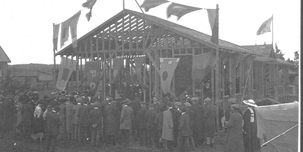 A large crowd attended the laying of the foundation stone of the Otane Post Office building in 1912.