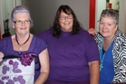 Former school friends from Kapiti College met in Dannevirke on Tuesday, the first reunion in 50 years for Donna Goodman, of Whetakura (left) and Glynnis Lees of Weber (centre). Fellow school friend Andrea Roberts of Auckland caught up with Donna a few years ago. Photo / Christine McKay
