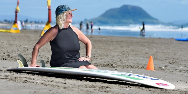 Surfer Marguerite Vujcich, 56, is excited that she can finally compete with the boys. Photo / George Novak