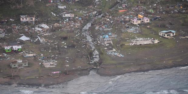 Loading Cyclone Winston left widespread damage across Fiji. Photo: NZDF/ Fijian Government / Facebook