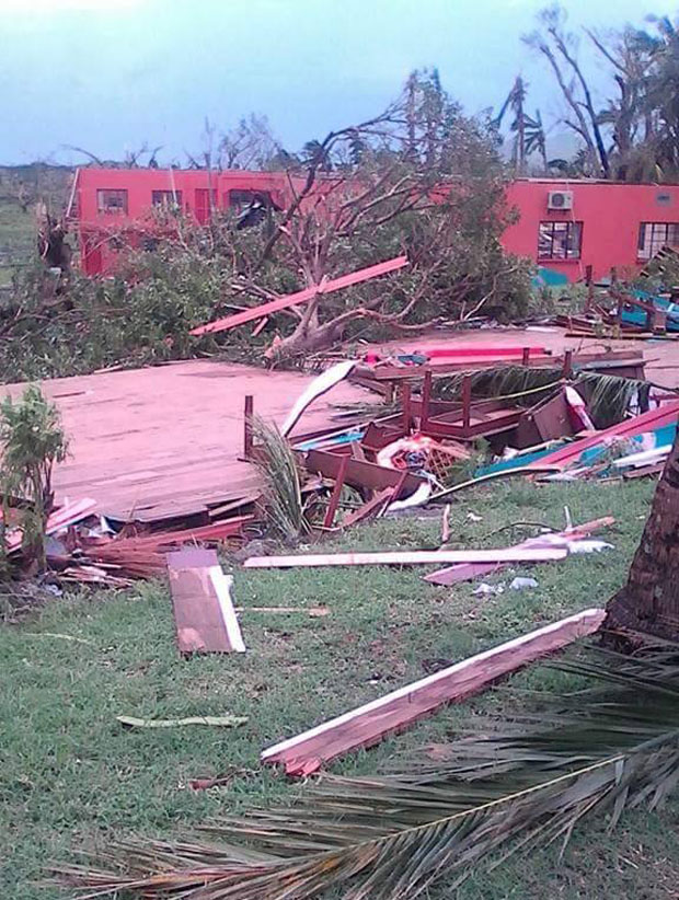 The ruins of what was Rakiraki Penang School and Tavua College. Classrooms have been flattened and entire blocks left in ruins after roofs were lifted in the hurricane force winds. Photo / Facebook