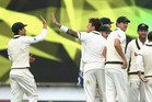 Australia celebrate a wicket on the third day of the second test. Photo / Getty